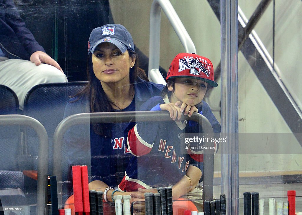 <a gi-track='captionPersonalityLinkClicked' href=/galleries/search?phrase=Mariska+Hargitay&family=editorial&specificpeople=204727 ng-click='$event.stopPropagation()'>Mariska Hargitay</a> and son August Hermann attend the New Jersey Devils vs The New York Rangers game at Madison Square Garden on April 27, 2013 in New York City.