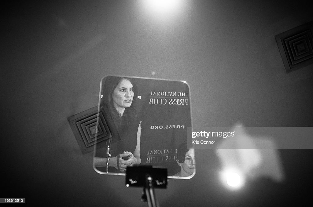 Mariska Hargitay is mirrored while she speaks during a National Press Club Luncheon about her career and founding the Joyful Heart Foundation, whose mission is of healing, educating and empowering survivors of sexual assault, domestic violence and child abuse at National Press Club on March 13, 2013 in Washington, DC.