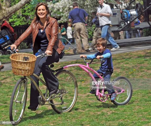 Mariska Hargitay with her son August Hermann on location for 'Law Order SVU' at Streets of Manhattan on April 12 2010 in New York City
