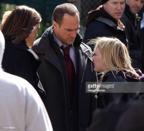Mariska HargitayChristopher Meloni and Hilary Duff are seen on the set of the TV show 'Law and Order SVU' on location in upper Manhattan on March 24...