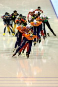 Mariska Huisman of Netherlands leads in the Division A Mass start Ladies race on day two of the Essent ISU World Cup Speed Skating at Thialf Ice...