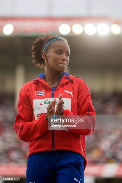 Marisleisys Duarthe of Cuba looks on in the girls javelin throw medal ceremony during day 5 of the IAAF U18 World Championships at Moi International...