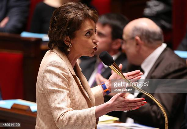 Marisol Touraine french Minister of Health and Social Affairs participates at the Questions to the Government at the French National Assembly on May...
