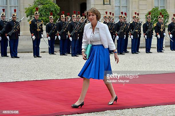 Marisol Touraine French Minister of Social Affairs arrives for a strategic meeting with French President Francois Hollande and Mexican President...