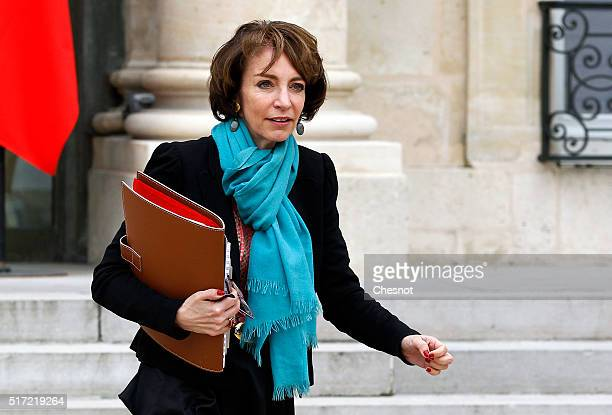 Marisol Touraine French Minister of Social Affairs leaves after a weekly cabinet meeting at the Elysee Presidential Palace on March 24 2016 in Paris...