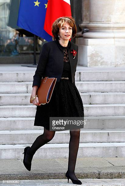 Marisol Touraine French Minister of Social Affairs leaves after a weekly cabinet meeting at the Elysee Presidential Palace on March 06 2016 in Paris...