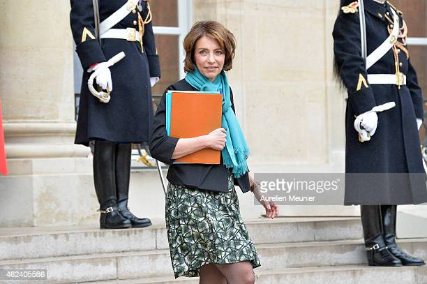 Marisol Touraine French Minister of Social Affairs leaves the Elysee Palace after a weekly cabinet meeting on January 28 2015 in Paris France