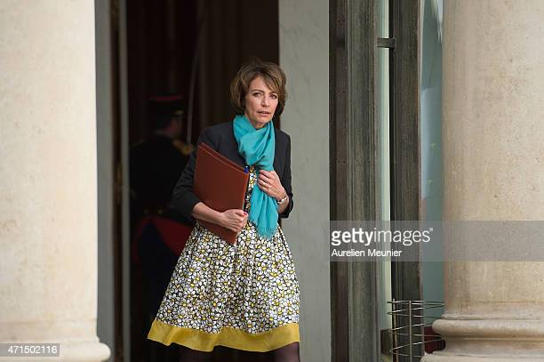 Marisol Touraine French Minister of Social Affairs leaves the Elysee Palace after the weekly cabinet meeting on April 29 2015 in Paris France