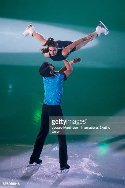 Marissa Castelli and Mervin Tran of the Unired States perform in the Gala Exhibition during day three of the ISU Grand Prix of Figure Skating at...