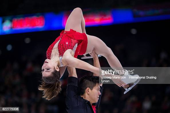 Marissa Castelli and Mervin Tran of the United States compete during Pairs Free Skating on day two of the Trophee de France ISU Grand Prix of Figure...
