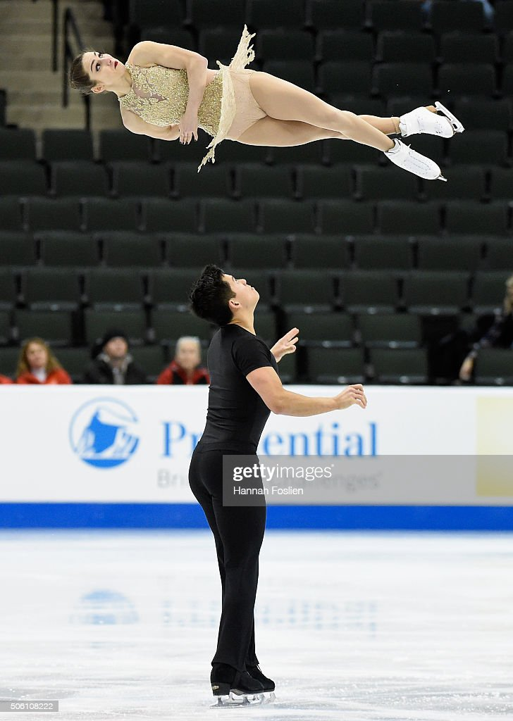 Marissa Castelli and Mervyn Tran compete in the Pairs Short Program at the 2016 Prudential U.S. Figure Skating Championship on January 21, 2016 at Xcel Energy Center in St Paul, Minnesota.