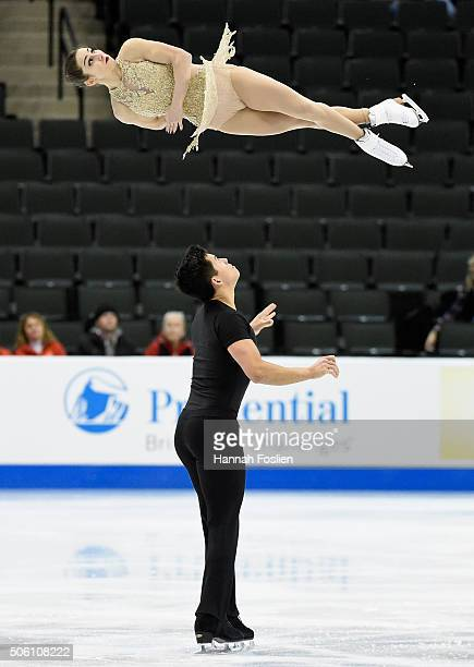 Marissa Castelli and Mervyn Tran compete in the Pairs Short Program at the 2016 Prudential US Figure Skating Championship on January 21 2016 at Xcel...