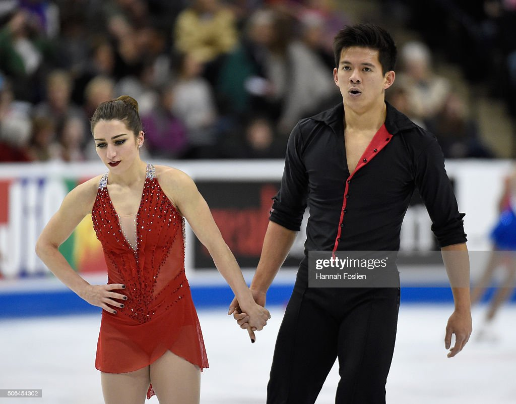 <a gi-track='captionPersonalityLinkClicked' href=/galleries/search?phrase=Marissa+Castelli&family=editorial&specificpeople=6702347 ng-click='$event.stopPropagation()'>Marissa Castelli</a> and Mervyn Tran react after competing in the Pairs' Free Skate at the 2016 Prudential U.S. Figure Skating Championship on January 23, 2016 at Xcel Energy Center in St Paul, Minnesota.