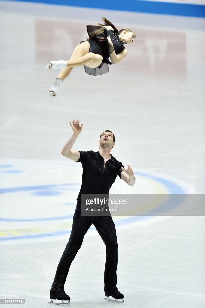 Marissa Castelli and Simon Shnapir of USA compete in the pairs short program during day two of the ISU World Team Trophy at Yoyogi National Gymnasium on April 12, 2013 in Tokyo, Japan.