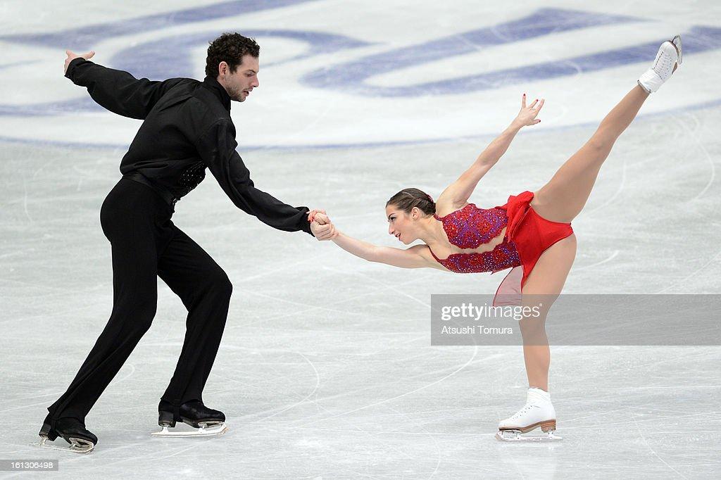 Marissa Castelli and Simon Shnapir of USA skate in the Pairs Free Skating during day three of the ISU Four Continents Figure Skating Championships at Osaka Municipal Central Gymnasium on February 10, 2013 in Osaka, Japan.