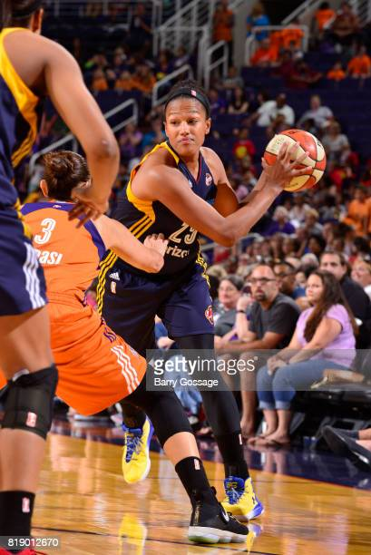 Marissa Coleman of the Indiana Fever handles the ball against the Phoenix Mercury on July 19 2017 at Talking Stick Resort Arena in Phoenix Arizona...