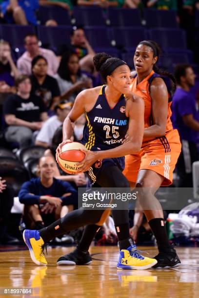 Marissa Coleman of the Indiana Fever looks to pass against the Phoenix Mercury on July 19 2017 at Talking Stick Resort Arena in Phoenix Arizona NOTE...