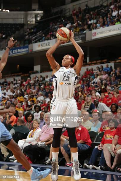 Marissa Coleman of the Indiana Fever shoots the ball against the Atlanta Dream during their WNBA game on June 29 2014 at Bankers Life Fieldhouse in...