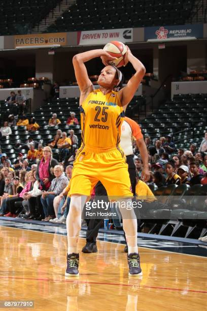 Marissa Coleman of the Indiana Fever shoots the ball during a game against the Los Angeles Sparks on May 24 2017 at Bankers Life Fieldhouse in...