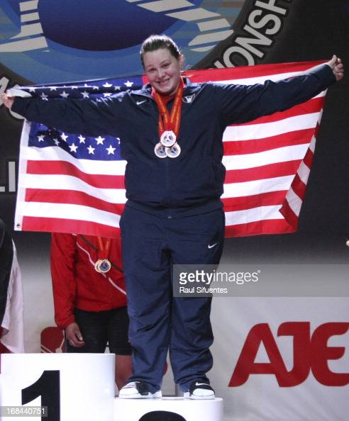 Marissa Eileen Klingseis of US in the podium of Women's 75kg during day six of the 2013 Junior Weightlifting World Championship at Maria Angola...