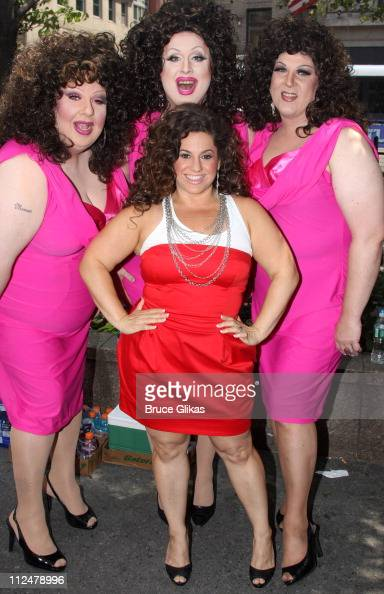 Marissa Jaret Winokur along with 'Marissa lookalike' drag queens promotes Oxygen Networks new show 'Dance Your Ass Off' in Herald Square on June 29...