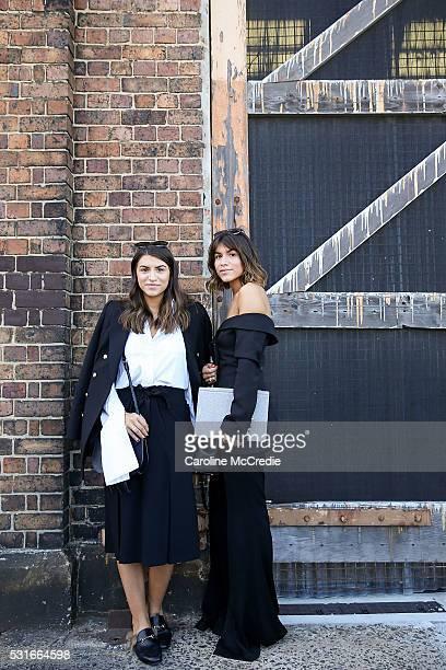 Marissa Karagiorgos wearing Camilla and Marc blazer and Gucci loafers and Bec Karagiorgos wearing Ellery pants and Coach handbag arrive ahead of the...