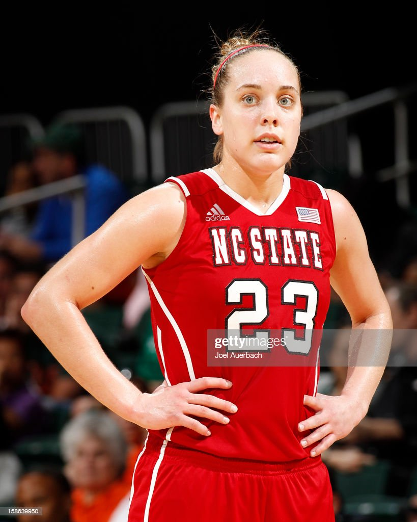 Marissa Kastanek #23 of the North Carolina State Wolfpack during free throws against the Miami Hurricanes on December 20, 2012 at the BankUnited Center in Coral Gables, Florida. The Hurricanes defeated the Wolfpack 79-53.