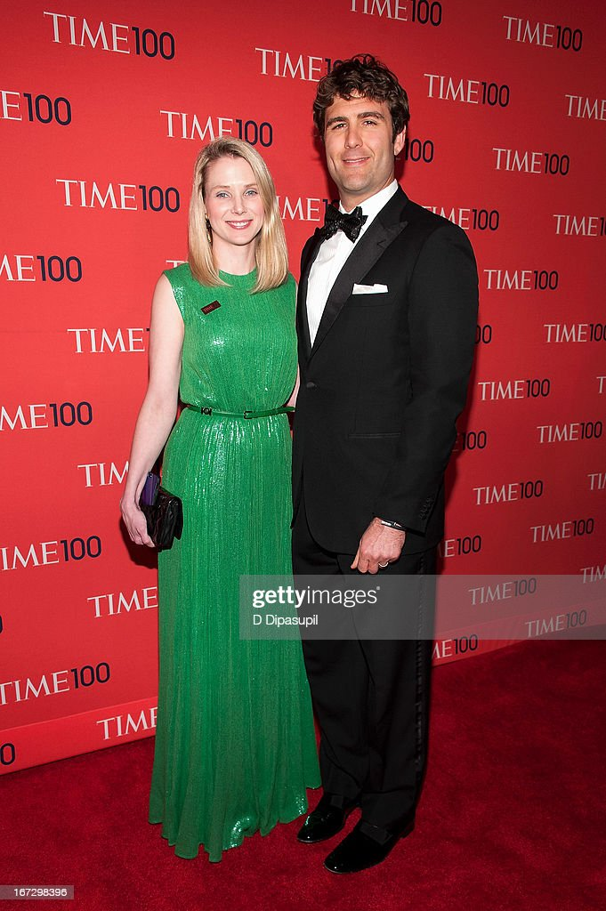 <a gi-track='captionPersonalityLinkClicked' href=/galleries/search?phrase=Marissa+Mayer&family=editorial&specificpeople=5577875 ng-click='$event.stopPropagation()'>Marissa Mayer</a> (L) and husband Zachary Bogue attend the 2013 Time 100 Gala at Frederick P. Rose Hall, Jazz at Lincoln Center on April 23, 2013 in New York City.
