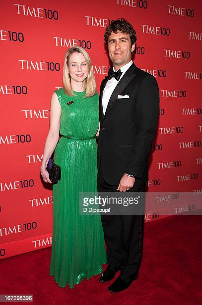 Marissa Mayer and husband Zachary Bogue attend the 2013 Time 100 Gala at Frederick P Rose Hall Jazz at Lincoln Center on April 23 2013 in New York...