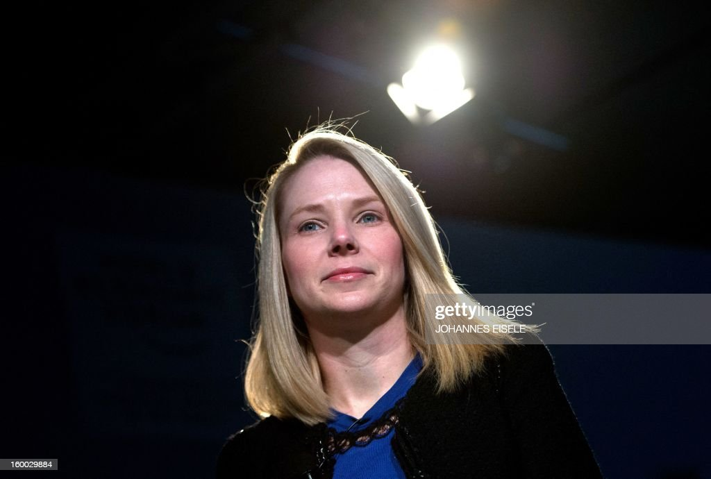 Marissa Mayer, CEO of Yahoo!, attends a session of the World Economic Forum 2013 Annual Meeting on January 25, 2013 at the Swiss resort of Davos. The World Economic Forum (WEF) is taking place from January 23 to 27. AFP PHOTO / JOHANNES EISELE