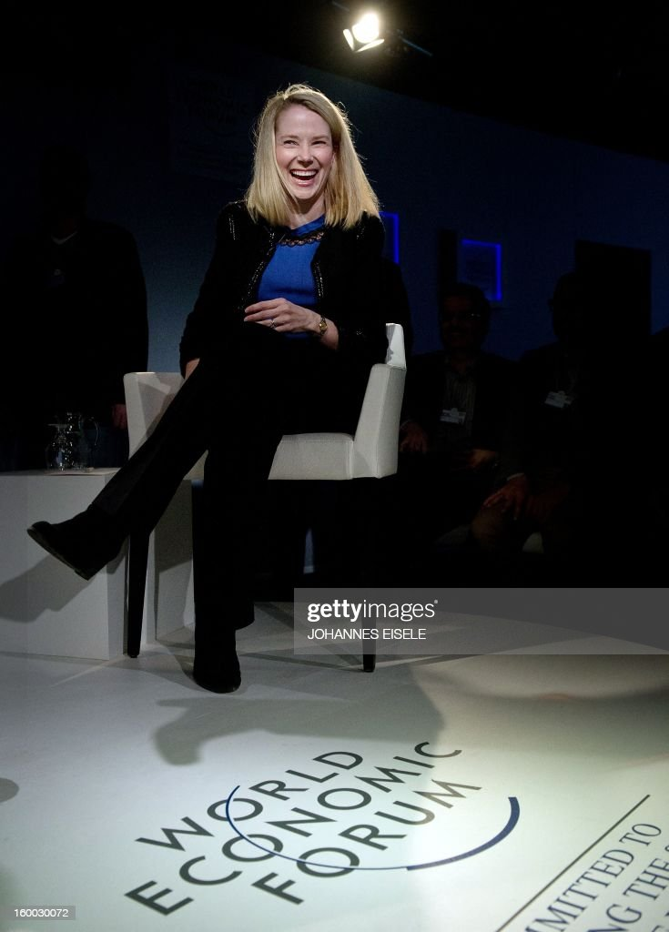 Marissa Mayer, CEO of Yahoo!, attends a session of the World Economic Forum 2013 Annual Meeting on January 25, 2013 at the Swiss resort of Davos. The World Economic Forum (WEF) is taking place from January 23 to 27.