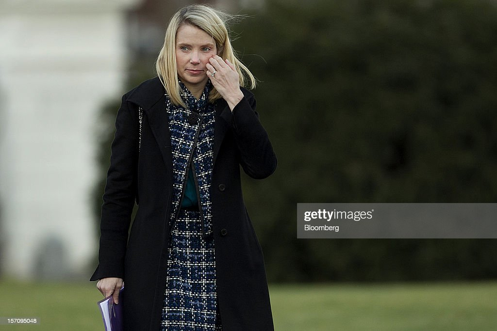 Marissa Mayer, chief executive officer of Yahoo! Inc., arrives to the White House in Washington, D.C., U.S., on Wednesday, Nov. 28, 2012. U.S. President Barack Obama reached out to chief executives and middle-income taxpayers, imploring them to press Congress to avoid the fiscal cliff as he said he wants to get a deal 'done before Christmas.' Photographer: Andrew Harrer/Bloomberg via Getty Images