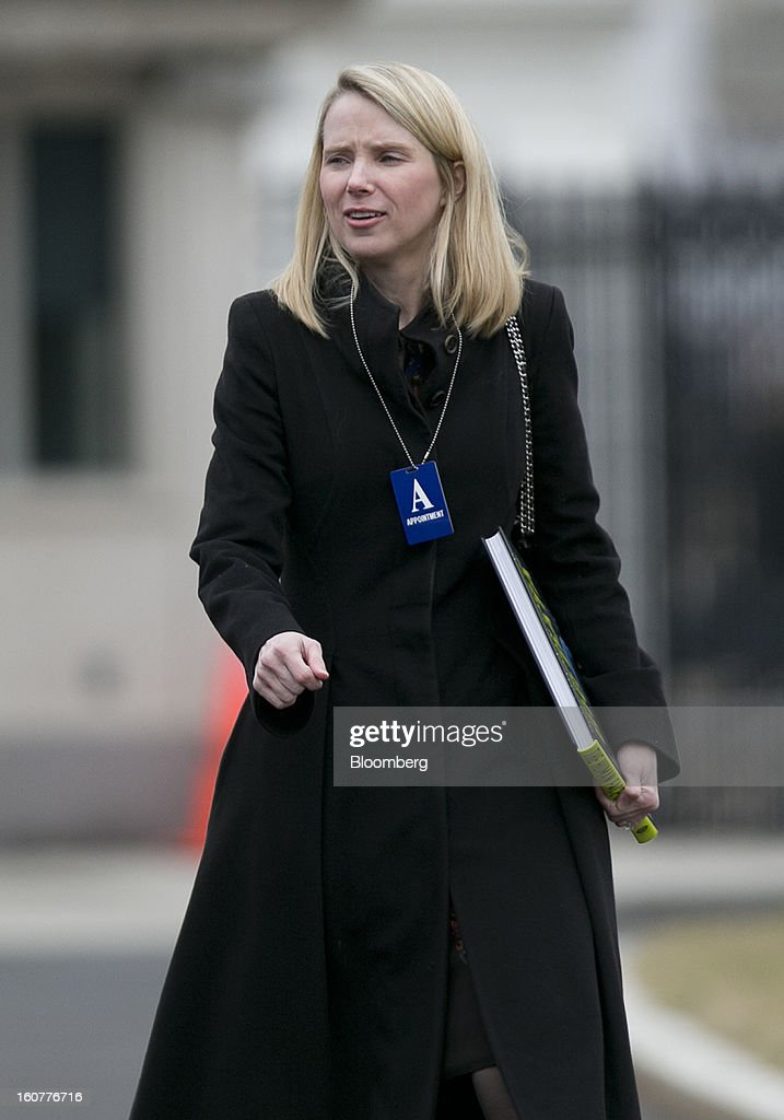 Marissa Mayer, chief executive officer of Yahoo! Inc., arrives to the White House to meet with U.S. President Barack Obama in Washington, D.C., U.S., on Tuesday, Feb. 5, 2013. Obama urged Congress to postpone automatic spending cuts scheduled to begin March 1 to avoid 'real and lasting impacts' on U.S. economic growth. Photographer: Andrew Harrer/Bloomberg via Getty Images