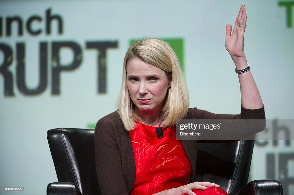 Marissa Mayer, chief executive officer of Yahoo! Inc., gestures at the TechCrunch Disrupt SF 2013 conference in San Francisco, California, U.S., on Wednesday, Sept. 11, 2013. Yahoo! Mayer said the Web portal has surpassed 800 million active monthly users, a 20 percent increase since she joined the company in July 2012. Photographer: David Paul Morris/Bloomberg via Getty Images