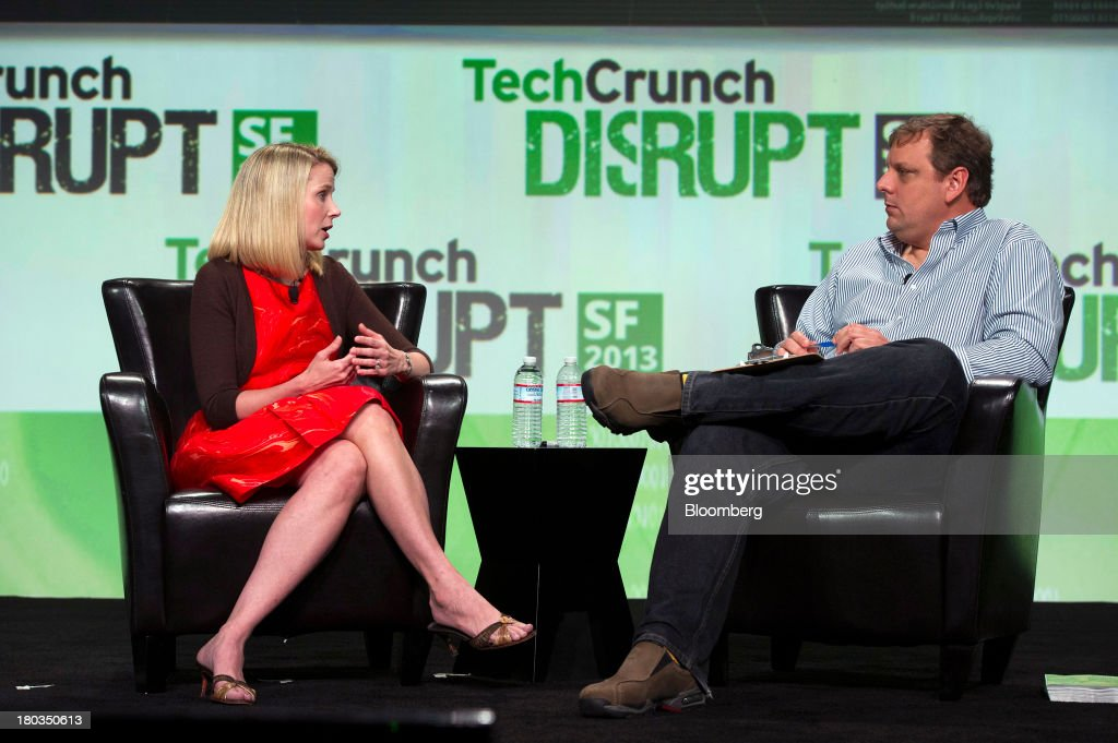 <a gi-track='captionPersonalityLinkClicked' href=/galleries/search?phrase=Marissa+Mayer&family=editorial&specificpeople=5577875 ng-click='$event.stopPropagation()'>Marissa Mayer</a>, chief executive officer of Yahoo! Inc., left, speaks with Michael Arrington, partner at CrunchFund and founder of TechCrunch, at the TechCrunch Disrupt SF 2013 conference in San Francisco, California, U.S., on Wednesday, Sept. 11, 2013. Yahoo! Mayer said the Web portal has surpassed 800 million active monthly users, a 20 percent increase since she joined the company in July 2012. Photographer: David Paul Morris/Bloomberg via Getty Images