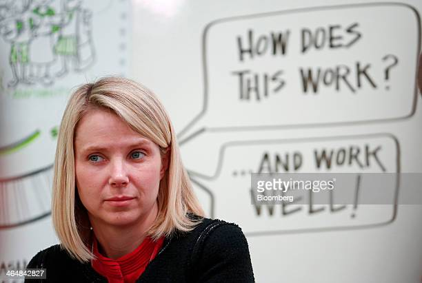 Marissa Mayer chief executive officer of Yahoo Inc pauses during a session on day three of the World Economic Forum in Davos Switzerland on Friday...