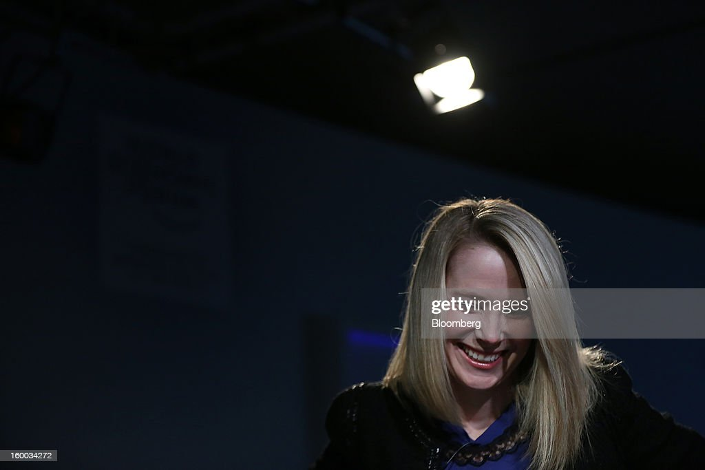 Marissa Mayer, chief executive officer of Yahoo! Inc., reacts during a panel discussion on day three of the World Economic Forum (WEF) in Davos, Switzerland, on Friday, Jan. 25, 2013. World leaders, influential executives, bankers and policy makers attend the 43rd annual meeting of the World Economic Forum in Davos, the five day event runs from Jan. 23-27. Photographer: Jason Alden/Bloomberg via Getty Images