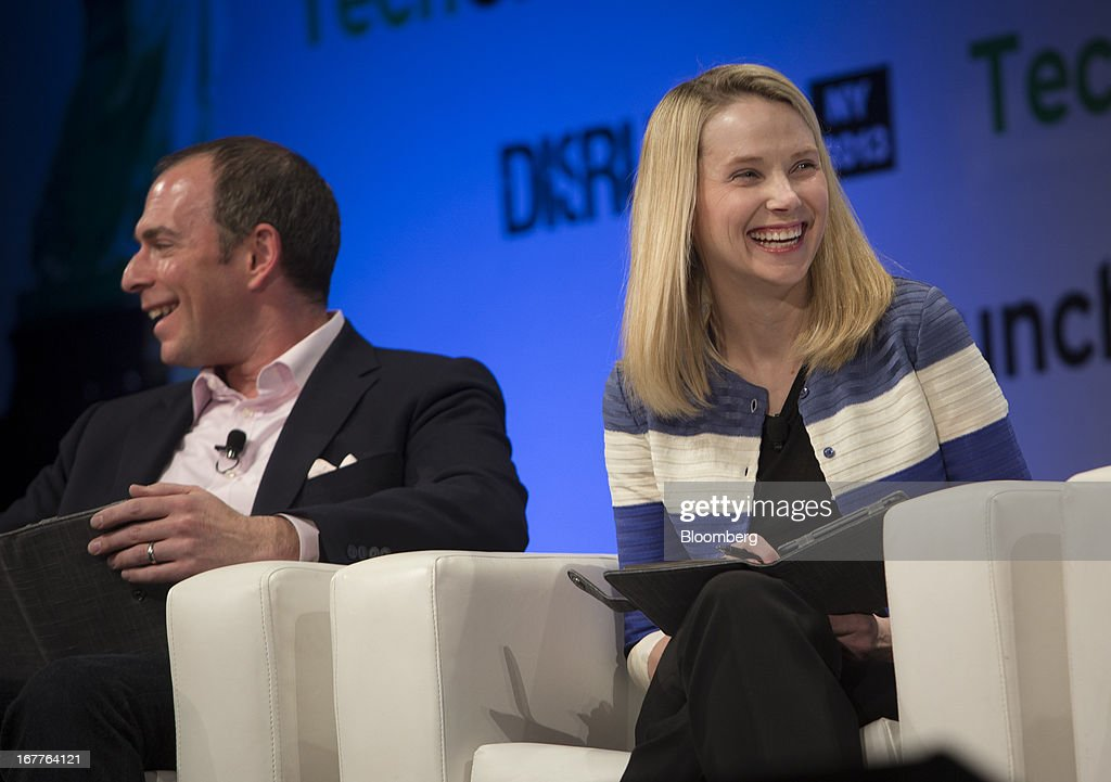 Marissa Mayer, chief executive officer of Yahoo! Inc., right, speaks during the TechCrunch Disrupt NYC 2013 conference in New York, U.S., on Monday, April 29, 2013. The event features leaders from various technology fields and includes a competition for the best new startup company. Photographer: Scott Eells/Bloomberg via Getty Images