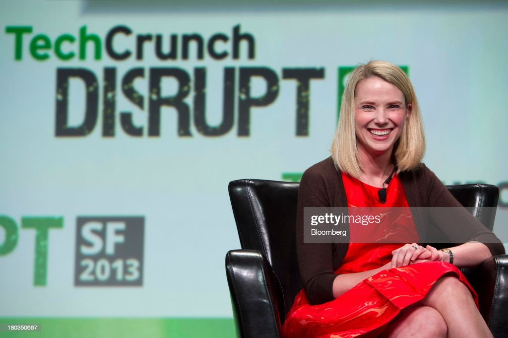 <a gi-track='captionPersonalityLinkClicked' href=/galleries/search?phrase=Marissa+Mayer&family=editorial&specificpeople=5577875 ng-click='$event.stopPropagation()'>Marissa Mayer</a>, chief executive officer of Yahoo! Inc., smiles at the TechCrunch Disrupt SF 2013 conference in San Francisco, California, U.S., on Wednesday, Sept. 11, 2013. Yahoo! Mayer said the Web portal has surpassed 800 million active monthly users, a 20 percent increase since she joined the company in July 2012. Photographer: David Paul Morris/Bloomberg via Getty Images