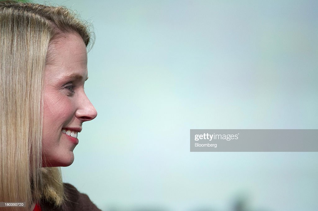 Marissa Mayer, chief executive officer of Yahoo! Inc., smiles at the TechCrunch Disrupt SF 2013 conference in San Francisco, California, U.S., on Wednesday, Sept. 11, 2013. Yahoo! Mayer said the Web portal has surpassed 800 million active monthly users, a 20 percent increase since she joined the company in July 2012. Photographer: David Paul Morris/Bloomberg via Getty Images