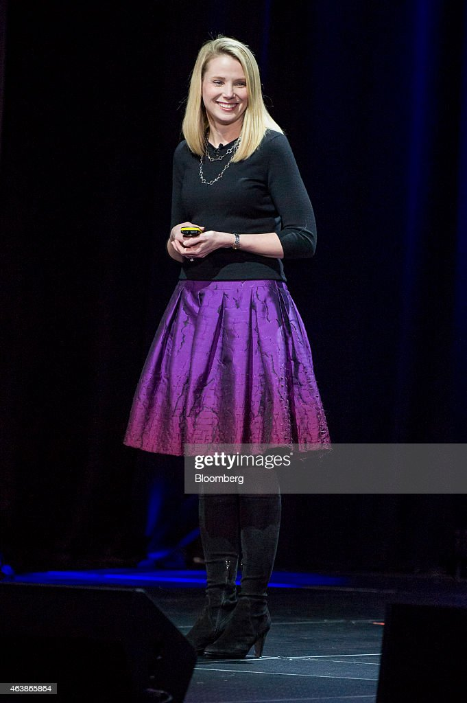 <a gi-track='captionPersonalityLinkClicked' href=/galleries/search?phrase=Marissa+Mayer&family=editorial&specificpeople=5577875 ng-click='$event.stopPropagation()'>Marissa Mayer</a>, chief executive officer of Yahoo! Inc., smiles during the Yahoo! Inc. Mobile Developer Conference in San Francisco, California, U.S., on Thursday, Feb. 19, 2015. The conference will unveil a new suite of services designed to help mobile developers better understand users, while improving, growing and monetizing their apps. Photographer: David Paul Morris/Bloomberg via Getty Images