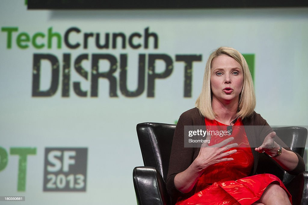 Marissa Mayer, chief executive officer of Yahoo! Inc., speaks at the TechCrunch Disrupt SF 2013 conference in San Francisco, California, U.S., on Wednesday, Sept. 11, 2013. Yahoo! Mayer said the Web portal has surpassed 800 million active monthly users, a 20 percent increase since she joined the company in July 2012. Photographer: David Paul Morris/Bloomberg via Getty Images