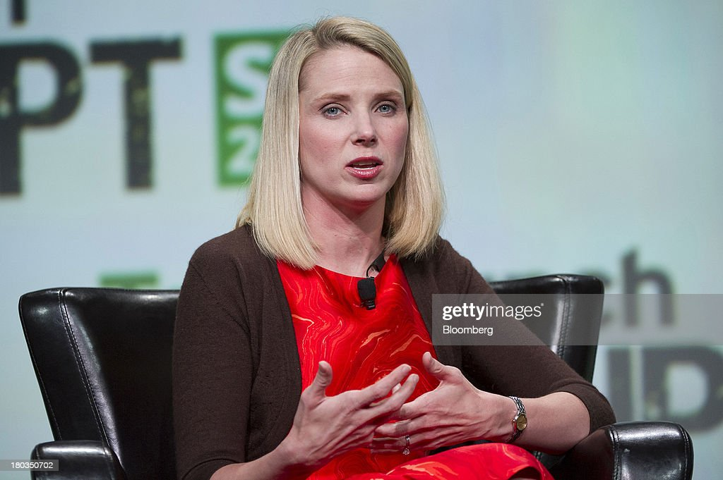 <a gi-track='captionPersonalityLinkClicked' href=/galleries/search?phrase=Marissa+Mayer&family=editorial&specificpeople=5577875 ng-click='$event.stopPropagation()'>Marissa Mayer</a>, chief executive officer of Yahoo! Inc., speaks at the TechCrunch Disrupt SF 2013 conference in San Francisco, California, U.S., on Wednesday, Sept. 11, 2013. Yahoo! Mayer said the Web portal has surpassed 800 million active monthly users, a 20 percent increase since she joined the company in July 2012. Photographer: David Paul Morris/Bloomberg via Getty Images