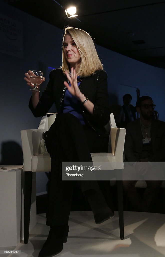 Marissa Mayer, chief executive officer of Yahoo! Inc., speaks during a panel discussion on day three of the World Economic Forum (WEF) in Davos, Switzerland, on Friday, Jan. 25, 2013. World leaders, influential executives, bankers and policy makers attend the 43rd annual meeting of the World Economic Forum in Davos, the five day event runs from Jan. 23-27. Photographer: Jason Alden/Bloomberg via Getty Images