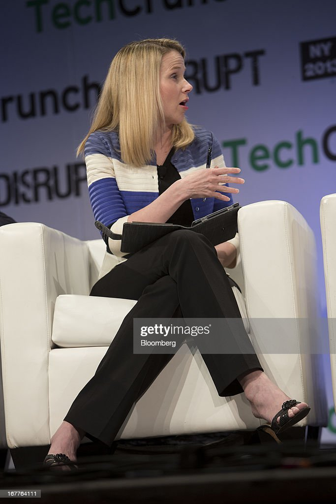 <a gi-track='captionPersonalityLinkClicked' href=/galleries/search?phrase=Marissa+Mayer&family=editorial&specificpeople=5577875 ng-click='$event.stopPropagation()'>Marissa Mayer</a>, chief executive officer of Yahoo! Inc., speaks during the TechCrunch Disrupt NYC 2013 conference in New York, U.S., on Monday, April 29, 2013. The event features leaders from various technology fields and includes a competition for the best new startup company. Photographer: Scott Eells/Bloomberg via Getty Images