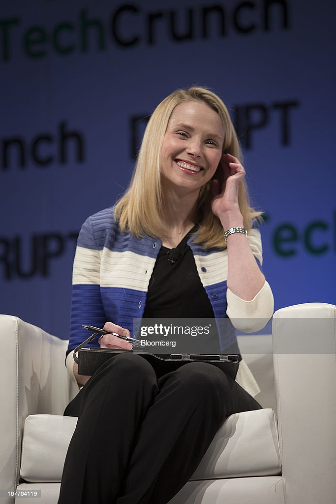 Marissa Mayer, chief executive officer of Yahoo! Inc., speaks during the TechCrunch Disrupt NYC 2013 conference in New York, U.S., on Monday, April 29, 2013. The event features leaders from various technology fields and includes a competition for the best new startup company. Photographer: Scott Eells/Bloomberg via Getty Images