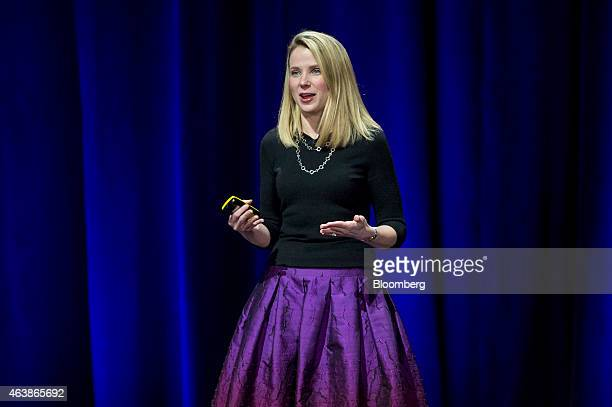 Marissa Mayer chief executive officer of Yahoo Inc speaks during the Yahoo Inc Mobile Developer Conference in San Francisco California US on Thursday...