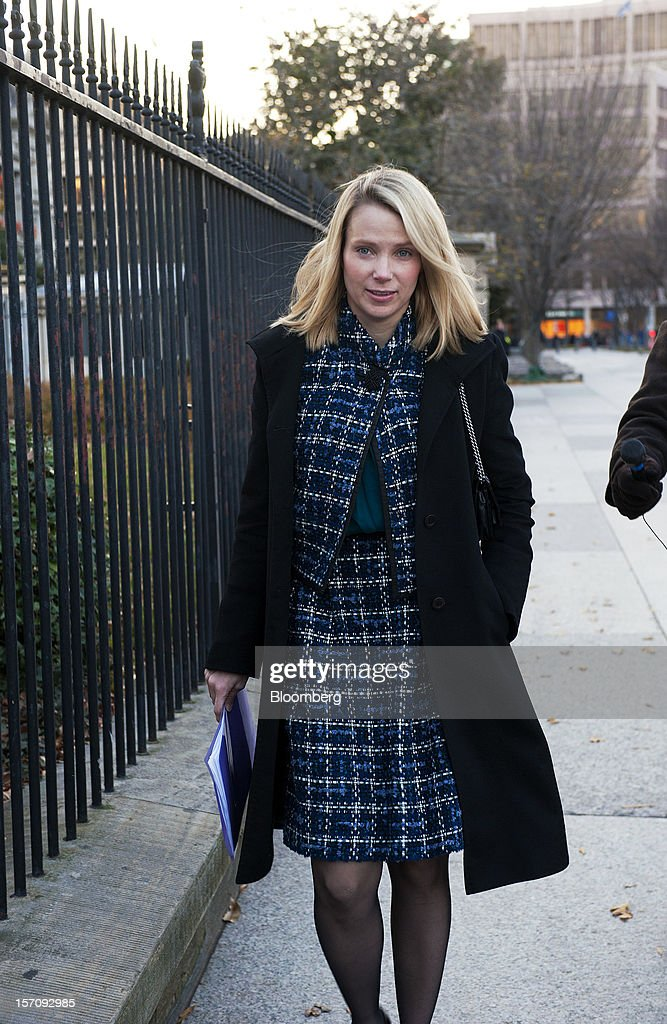 <a gi-track='captionPersonalityLinkClicked' href=/galleries/search?phrase=Marissa+Mayer&family=editorial&specificpeople=5577875 ng-click='$event.stopPropagation()'>Marissa Mayer</a>, chief executive officer of Yahoo! Inc., walks outside the White House in Washington, D.C., U.S., on Wednesday, Nov. 28, 2012. Business executives pressing for a solution to the so-called fiscal cliff made their case at the White House and the Capitol a day after Senate Majority Leader Harry Reid lamented the lack of progress toward a deal. Photographer: Jay Mallin/Bloomberg via Getty Images