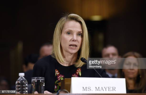 Marissa Mayer former chief executive officer of Yahoo Inc testifies during a Senate Commerce Science and Transportation Committee hearing in...