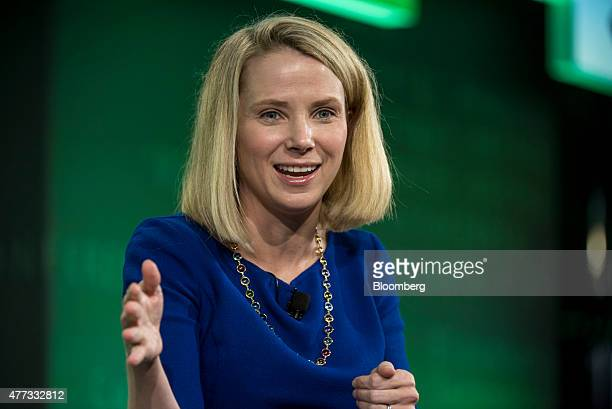Marissa Mayer president and chief executive officer at Yahoo Inc speaks during the 2015 Bloomberg Technology Conference in San Francisco California...